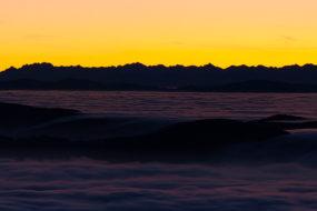Vysoké a Západní Tatry pohledem z Lysé hory