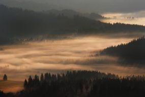 Svítání v polských Beskydech